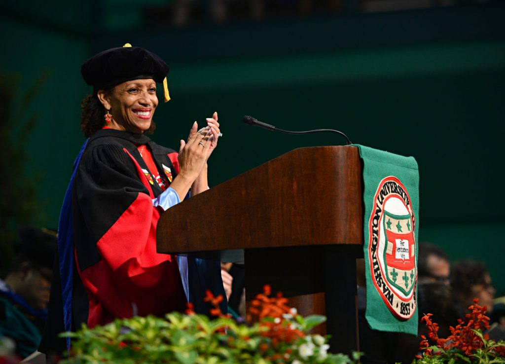 08-20-2015 - Vice Chancellor for Students Lori White speaks during Convocation. James Byard/WUSTL Photos