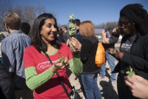 Engineering students from Washington University in St. Louis participated in tour of EarthDance Farms in Ferguson, Mo. Thursday, March 17, 2016, as part of a Spring Break class taught by Sandra Matteucci and Seema Dahlheimer. Dahlheimer hands out sample legumes plucked from the fields at EarthDance. Photo by Sid Hastings / WUSTL Photos