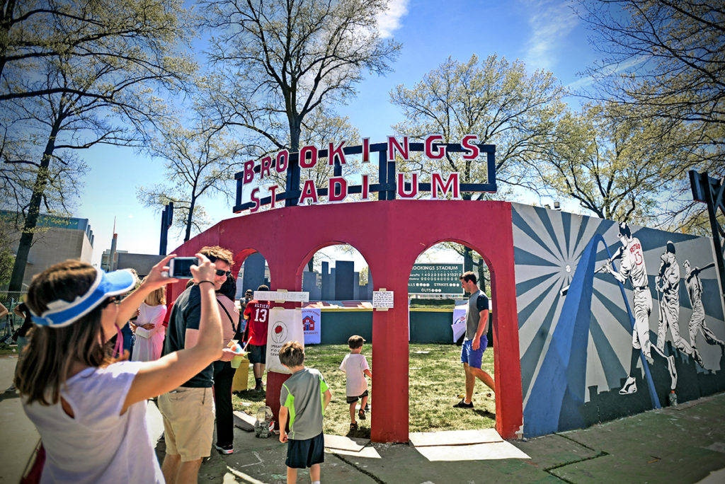 A new feature at this year's Thurtene Carnival April 15-17 was Brookings Stadium, where kids could try their hand at whiffle ball. (Photo: James Byard/Washington University)