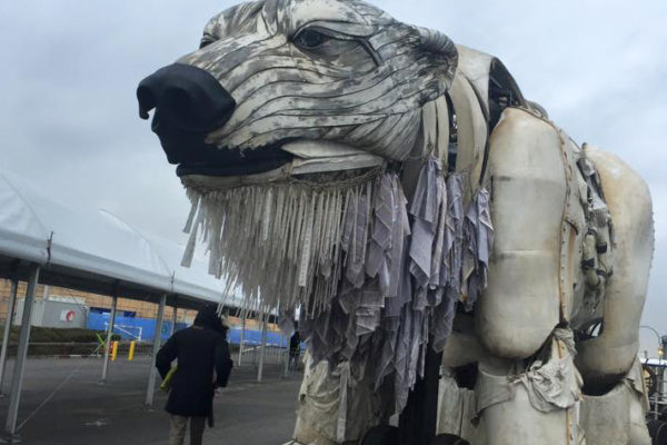 Giant polar bear awaits the outcome of the COP21 climate change negotiations in Paris