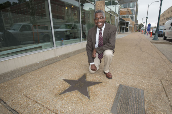 Gerald Early with his star on the walk of fame in the UCity Loop