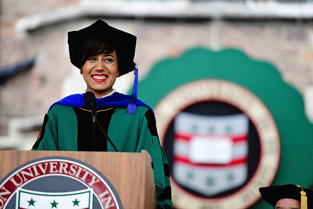 Ashley Macrander spotlighted the amazing achievements of Washington University graduate students in the first-ever graduate student address. (Photo: James Byard/Washington University)