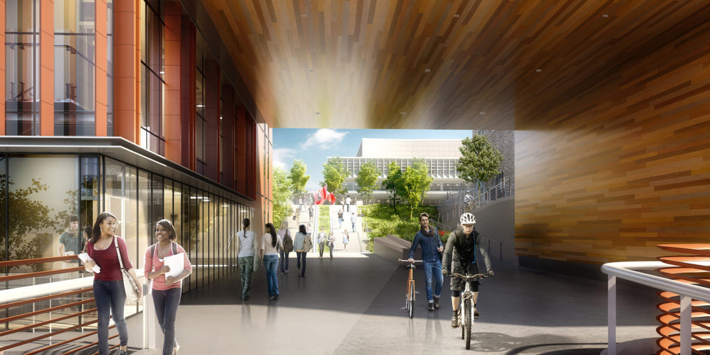 A close-up of the archway that will lead into the interior of the Danforth Campus.