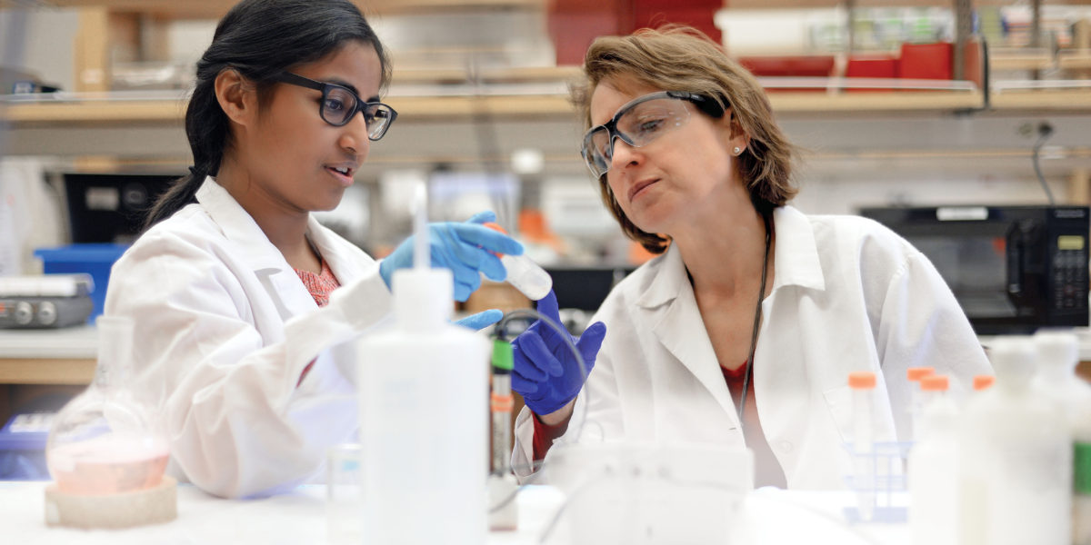 Professor Lori Setton (right) and collaborators, including Pranali Tambe (left), a visiting research associate, are looking at new materials for regenerating soft tissue, which could lead to new therapies for back pain. (Photo: James Byard)