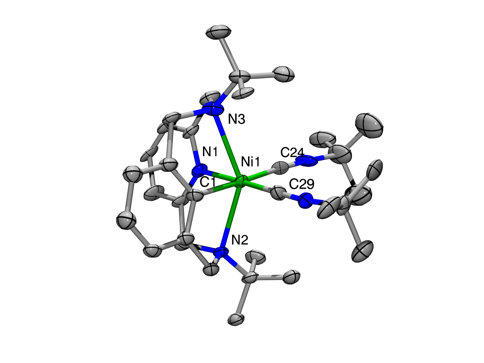 Key innovation in nickel-based green chemistry is a four-pronged molecule (N1, N2,N3 and C24) that holds a nickel atom (Ni1) in such a way that it can participate in the bonding of two carbon atoms (C1 and C29). When an oxidant is added, the Ni center joins C1 and C29 together to create a new molecule.