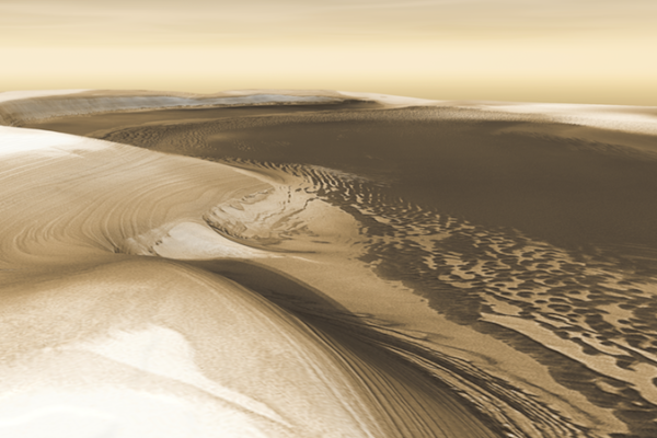 Climatic cycles of ice and dust build the Martian polar caps, season by season, year by year, and periodically whittle down their size when the climate changes. This image is a simulated 3-D perspective view, created from image data taken by the THEMIS instrument on NASA's Mars Odyssey spacecraft. Credit: NASA/JPL/Arizona State University, R. Luk
