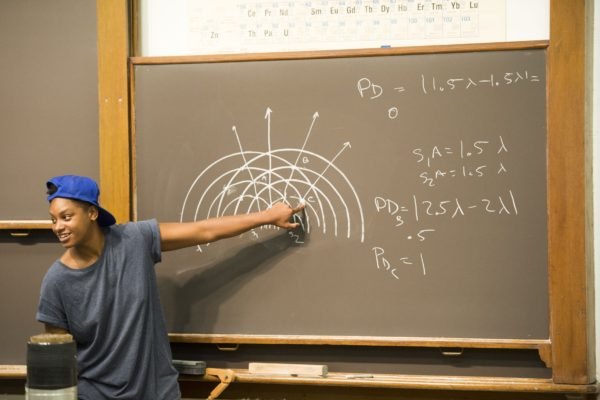 Student at a blackboard