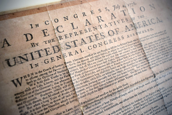 A copy of the Declaration of Independence at the Olin Library. James Byard/WUSTL Photos