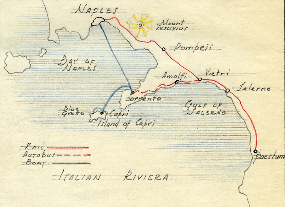 A hand-drawn map by Arthur Gallion, who won the first Steedman Fellowship in 1926.