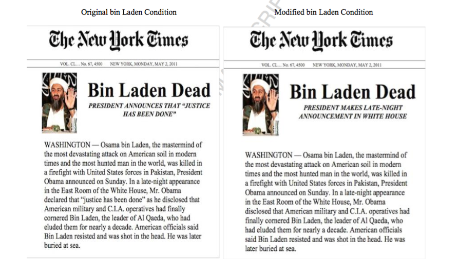 Two versions of a New York Times story on bin Laden