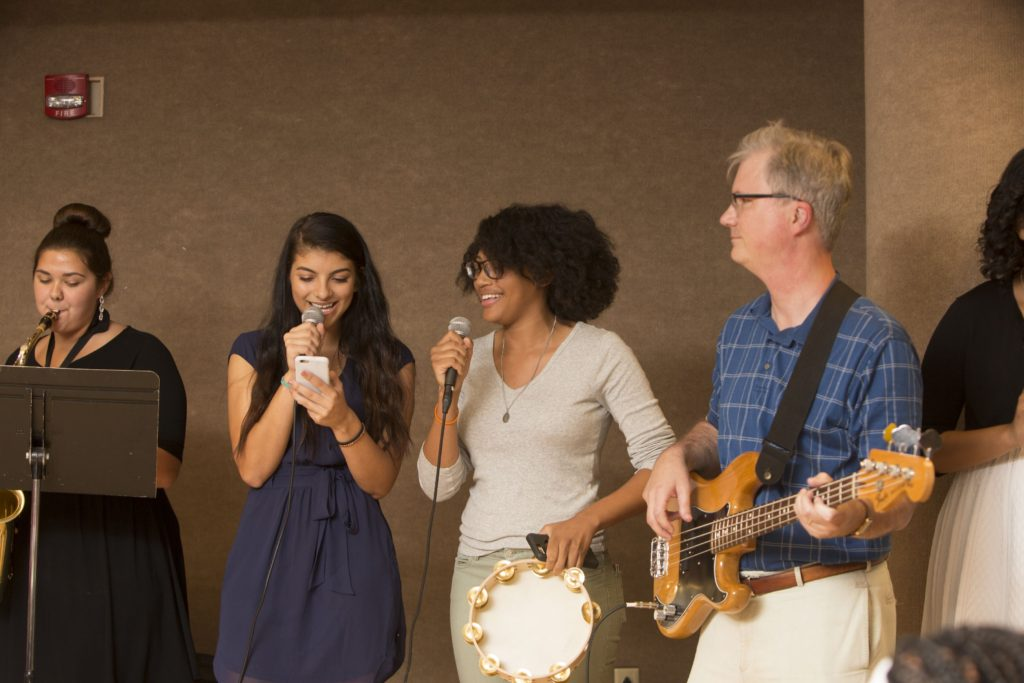 THURSDAY, JUNE 30, 2016 - Cohort 1 (rising high school seniors) held their closing dinner Thursday in the Mudd Multipurpose Room. This was the last residential summer for this cohort. Provost Holden Thorp and several students from his class this summer played together in a Motown-like band at the dinner.  PLEASE SEE DIANNE KEAGGY FOR CAPTION INFORMATION Photo by Jerry Naunheim Jr./WUSTL Photos