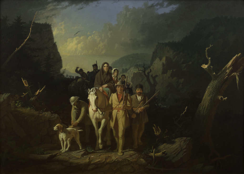 "George Caleb Bingham (American, 1811–1879), ""Daniel Boone Escorting Settlers through the Cumberland Gap,"" 1851–52. Oil on canvas, 36 1/2 x 50 1/4"". Mildred Lane Kemper Art Museum, Washington University in St. Louis. Gift of Nathaniel Phillips, 1890."