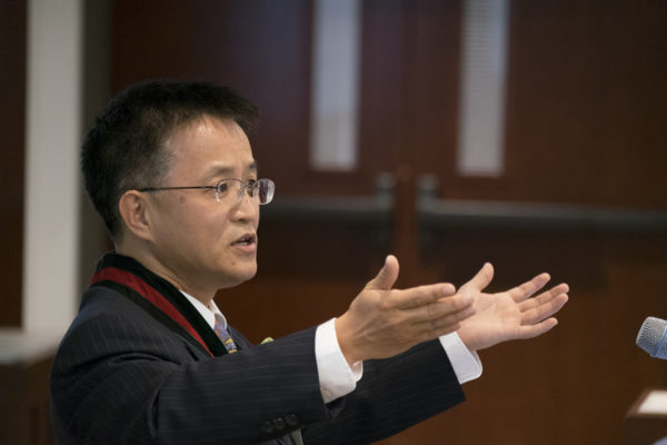 Hong Liu was installed as the Fossett Distinguished Professor May 6. (Photo:  Sid Hastings/Washington University)