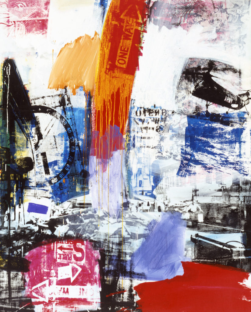 "Robert Rauschenberg (American, 1925–2008), ""Choke,"" 1964. Oil and silkscreen on canvas, 60 x 48"". Mildred Lane Kemper Art Museum, Washington University in St. Louis. Gift of Mr. and Mrs. Richard K. Weil, 1972. © Robert Rauschenberg Foundation / Licensed by VAGA, New York."