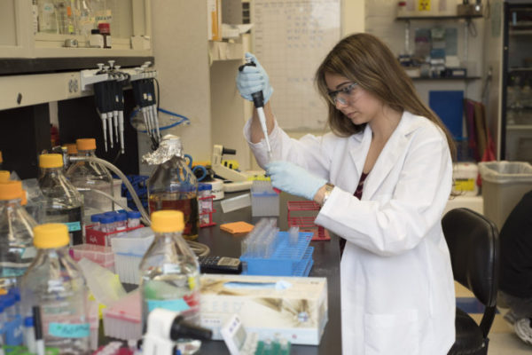 High school student Rachel Neff won awards for her work on proteins from the Ebola virus in the lab of Gaya Amarasinghe, associate professor of pathology and immunology at the School of Medicine.(Photo: Robert J. Boston/School of Medicine)