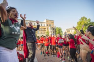 8.25.16-- Move In Day 2016 on the South 40 of the Danforth Campus of WUSTL. Dr. Lori White and Chancellor Mark Wrighton leads the WUSA's in cheers before the start of Move In Day. Photos by Joe Angeles/WUSTL Photos