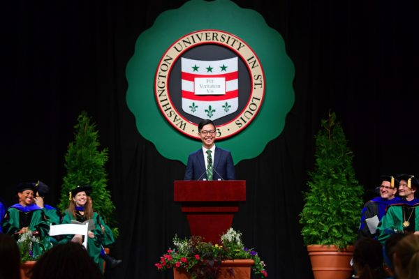 Student Union President Kenneth Sng speaks during Convocation on Thursday, Aug. 26, 2016. James Byard/WUSTL Photos