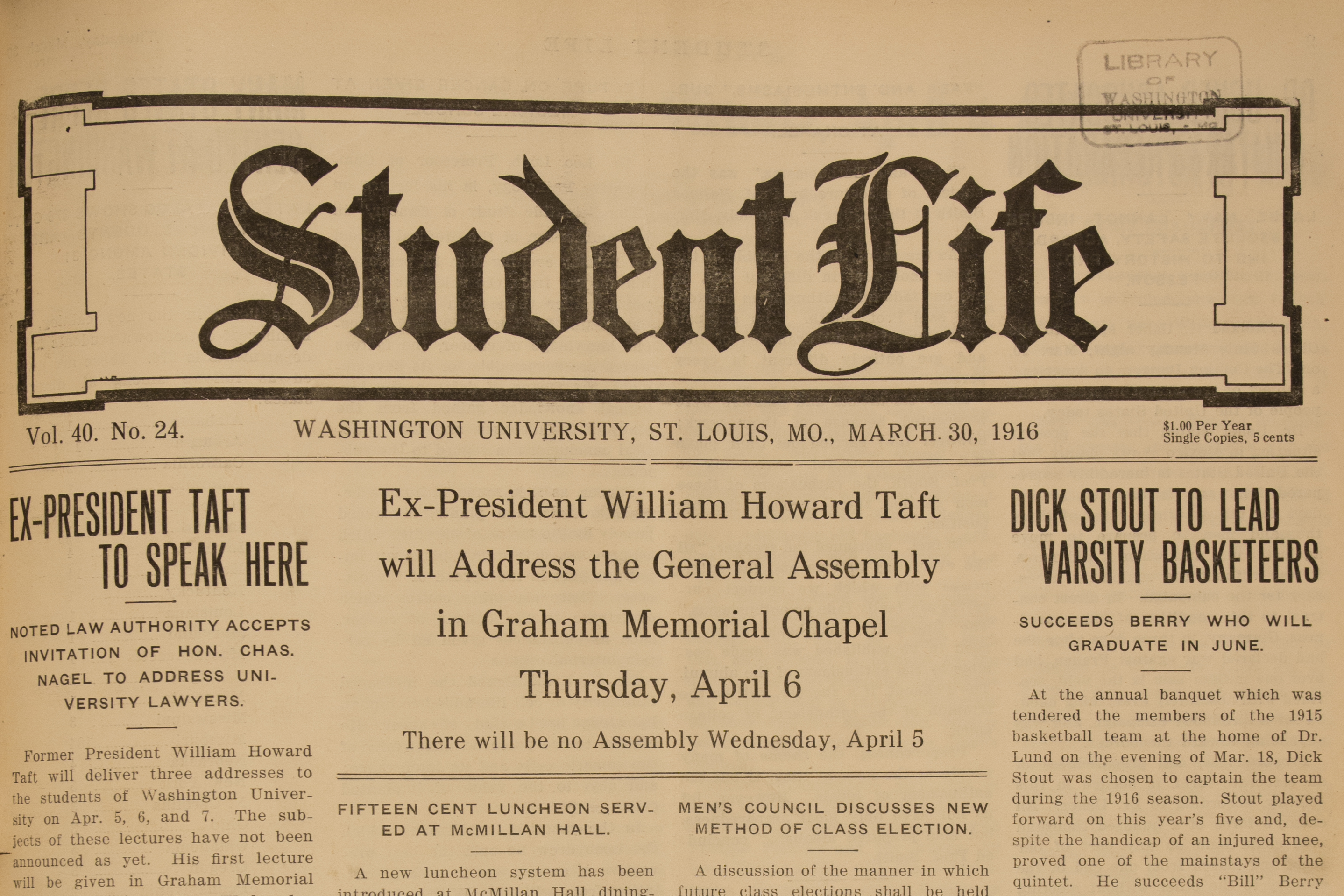 Student Life front page from 1916