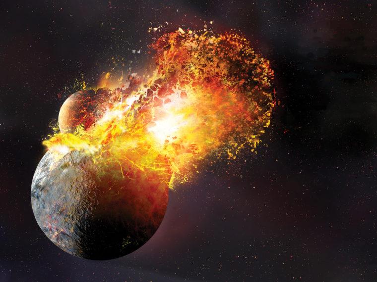 Choque planetario: una ilustración artística del impacto gigante que creó la Luna de la Tierra. Una nueva investigación sugiere que el impacto fue incluso más violento de lo que sugiere esta imagen. Ilustración: Dana Berry/SwRI