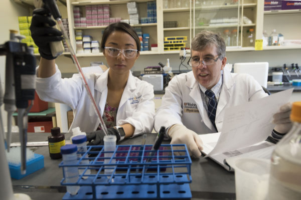Linda Jin, MD, a general surgery resident, and William Hawkins, MD, a professor of surgery, both at the School of Medicine, work in the lab. Hawkins is principal investigator of a $10.4 million grant aimed at developing new treatments for pancreatic cancer. (Photo: Robert J. Boston/School of Medicine)