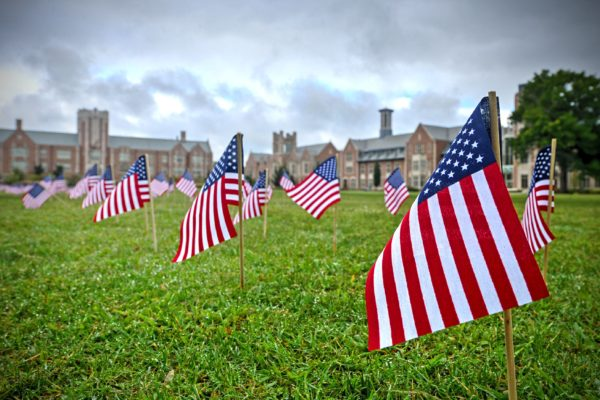 Flags planted in honor of victims of 9/11
