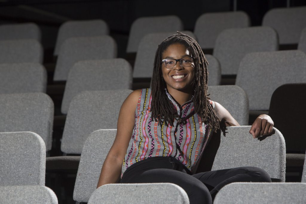 "Senior Andie Berry in the A.E. Hotchner Studio Theatre. Her drama ""Son of Soil"" will receive a staged reading Oct. 1 as part of the A.E. Hotchner New Play Festival. (Photo: Jerry Naunheim/Washington University)"