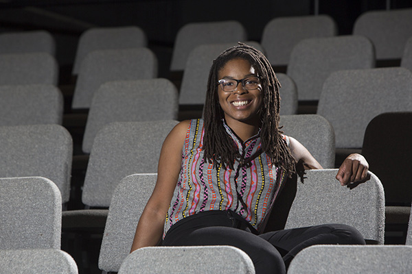 """Senior Andie Berry in the A.E. Hotchner Studio Theatre. Her drama """"Son of Soil"""" will receive a staged reading Oct. 1 as part of the A.E. Hotchner New Play Festival. (Photo: Jerry Naunheim/Washington University)"""