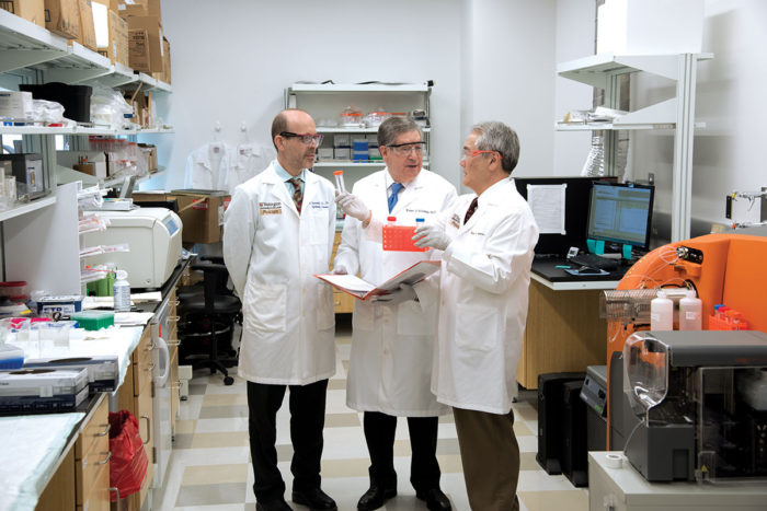 Michael S. Diamond, MD, PhD, Robert D. Schreiber, PhD, and Wayne M. Yokoyama, MD, lead a team of investigators working to develop new immune-based therapies for cancer, infectious disease, autoimmunity and immunodeficiency in the newly named Bursky Center for Human Immunology and Immunotherapy at Washington University School of Medicine.