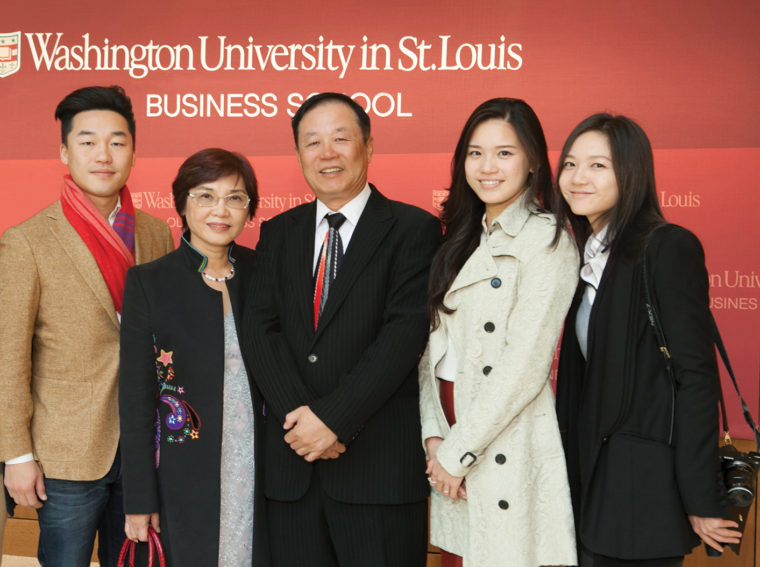 Jackson Ling and his wife, Ming, celebrated the naming of the Lin-Kuei Jackson Ling Classroom in Bauer Hall with their children: Ozzie (left), Kathy (second from right) and Carlie (right).