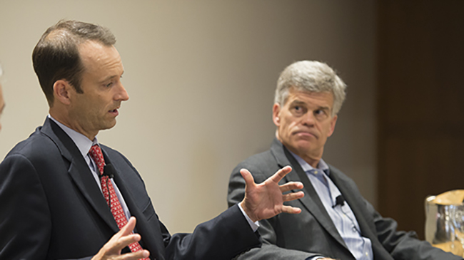 The Olin Sports Business Summit brings together exectuives from across the field for a series of panel discussions. Last year's panel featured St. Louis Cardinals President Bill DeWitt III and St. Louis Blues owner Tom Stillman. Photo by Joe Angeles