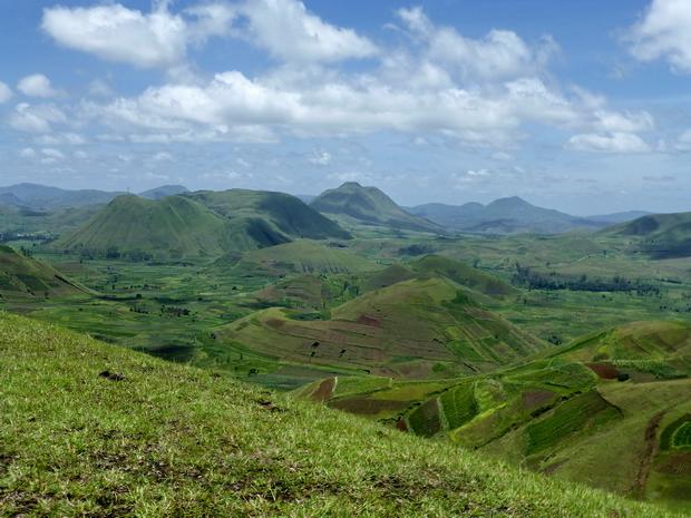 Betahezana, Ngilofotsy, Andranonatoa volcanic domes in teh Ankaratra volcanic field on Madagascar.