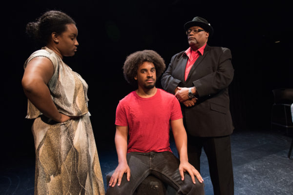 "From left to right: Ebby Offord as the mother, David Dwight as the Youth and Charles Glenn as the narrator in the PAD production of ""Passing Strange."" (Photo: Carol Green/Washington University.)"