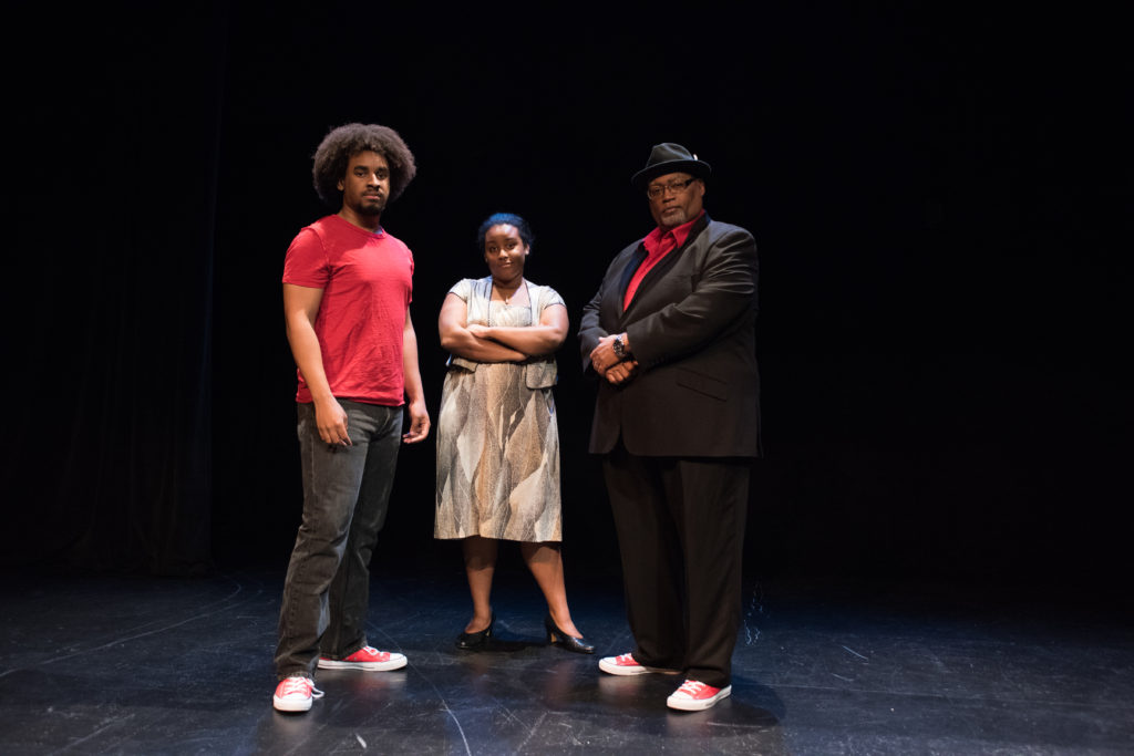 "From left: David Dwight as the Youth, Ebby Offord as the Mother and Charles Glenn as the Narrator in ""Passing Strange."" (Photo: Carol Green/Washington University.)"