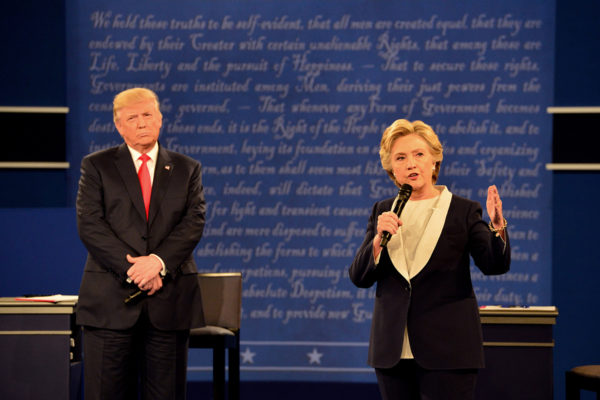 Democratic nominee Hillary Clinton and Republican nominee Donald Trump take questions in a town hall debate at Washington University Sunday, Oct. 9. (Joe Angeles/Washington University)
