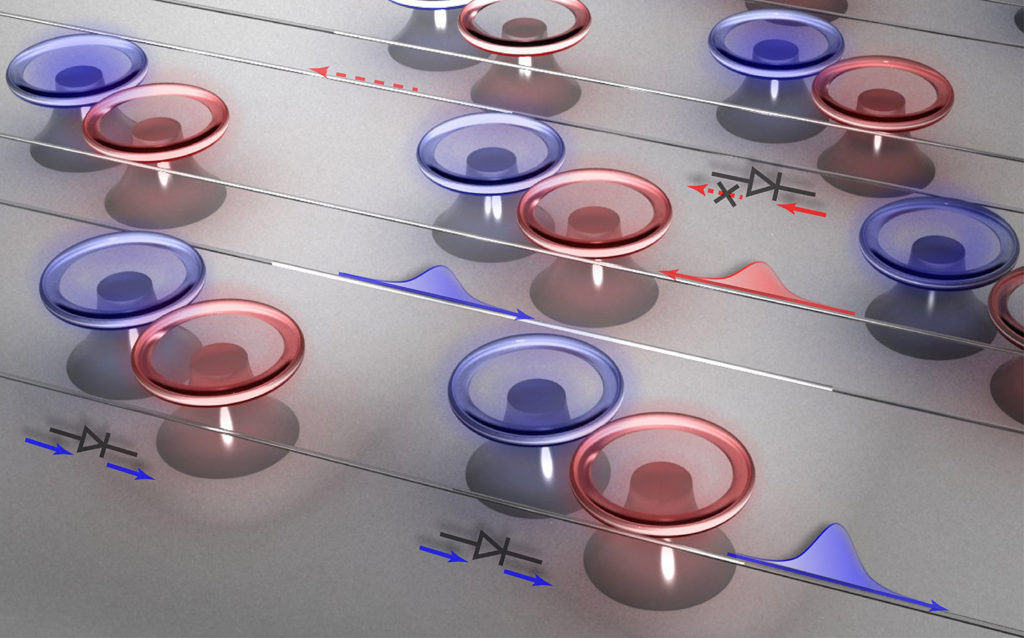 """PT symmetry has repeatedly been verified, including at Bender's home institution. Coupled optical resonators(paired red and blue toroids on little pedestals) are PT symmetry systems. When they are tuned through a """"phase transition"""" light, instead of moving through them in both directions, can only travel one way. (Credit: Micro/Nano Photonics Laboratory, Department of Electrical & Systems Engineering, Washington University)"""