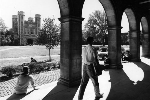 The Quad has always been a great place to study. (Washington University Archives)