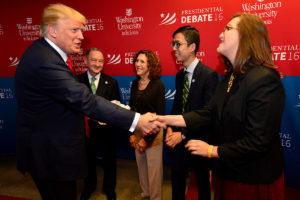 Trump greets campus leaders
