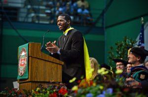 Damari Croswell speaks during Convocation on Thursday, Aug. 21, 2014. Photo by James Byard / WUSTL Photos