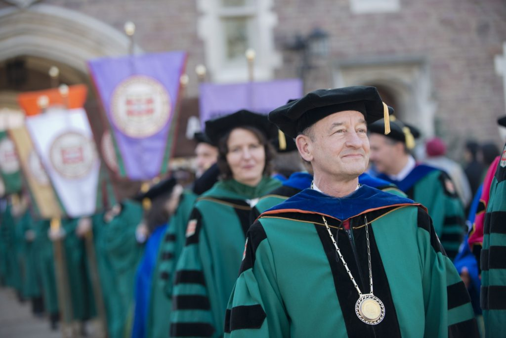 Chancellor Mark S. Wrighton leads the faculty procession at the 2015 December 05, 2015: during the December Recognition Ceremony. Danny Reise/WUSTL Photos
