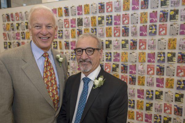 Ralph J. Nagel and Carmon Colangelo celebrate Colangelo's installation Nov. 18 as the Ralph J. Nagel Dean of the Sam Fox School of Design & Visual Arts. (Photos: Joe Angeles/Washington University)