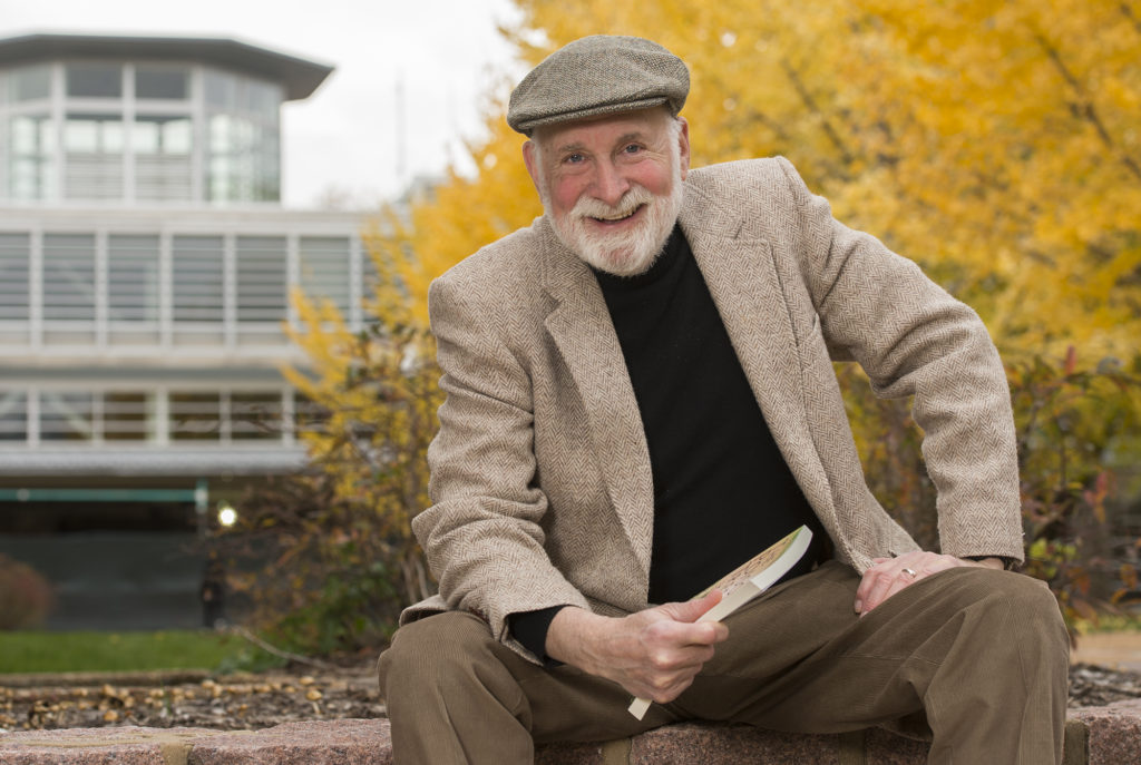 Henry Schvey, professor of drama, in the Performing Arts Department in Arts & Sciences, on the campus he happily calls home. (Photo: Joe Angeles/Washington University)