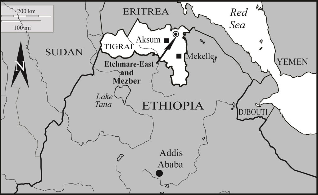 Location of the Mezber archaeological site, northern Ethiopia. (Image: Courtesy of International Journal of Osteoarchaeology)