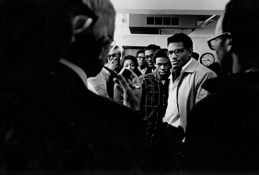 Members of the Association of Black Students in Brookings Hall in December, 1968. (Washington University Archives)