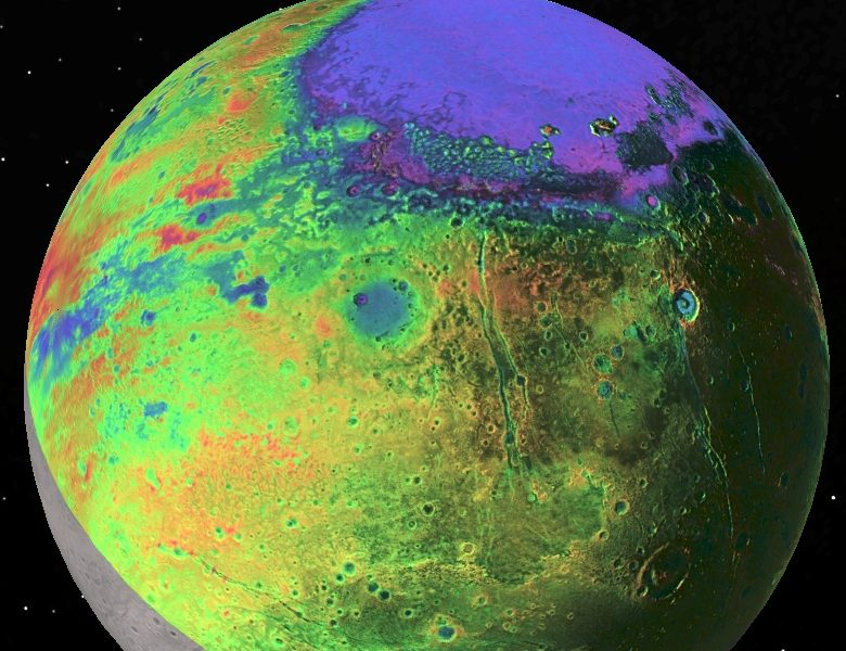 View of Pluto with color-coded topography as measured by NASA's New Horizons spacecraft. Purple and blue are low and yellow and red are high, and the informally named Sputnik Planitia stands out at top as a broad,  1300 km- (800 mile-) wide, 2.5 km- (1.5 mile-) deep elliptical basin, most likely the site of an ancient impact on Pluto. New Horizons data imply that deep beneath this nitrogen-ice filled basin is an ocean of dense, salty, ammonia-rich water. (Photo: P.M. Schenk LPI/JHUAPL/SwRI/NASA)