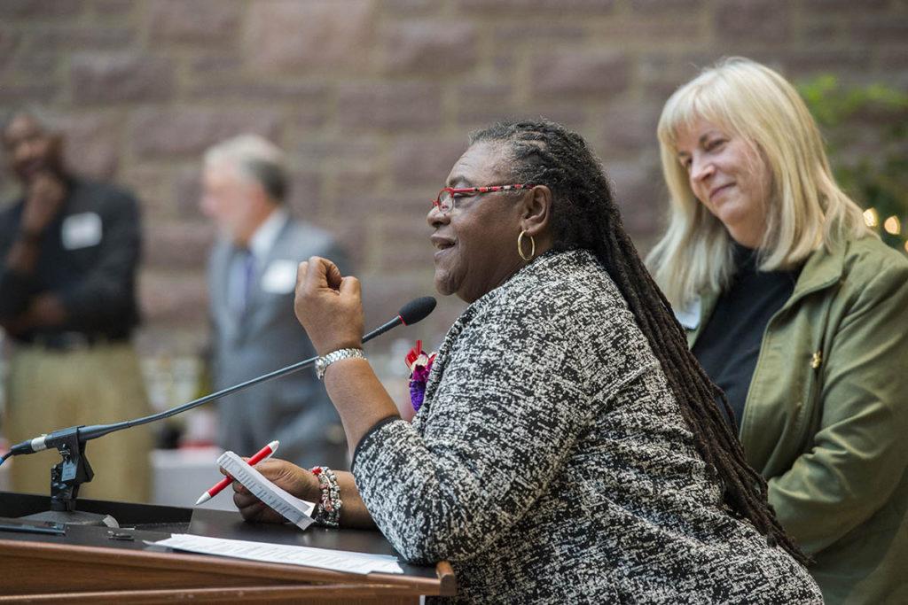 Virginia Toliver makes remarks