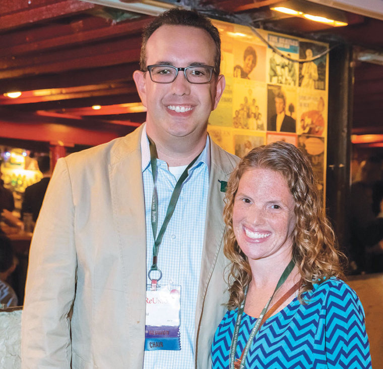 Marissa Hockfield, AB '01, interviews prospective students for the Alumni and Parents Admission Program. Here, she is pictured with her husband, Josh Steinfeld, AB '01. (Courtesy photo)
