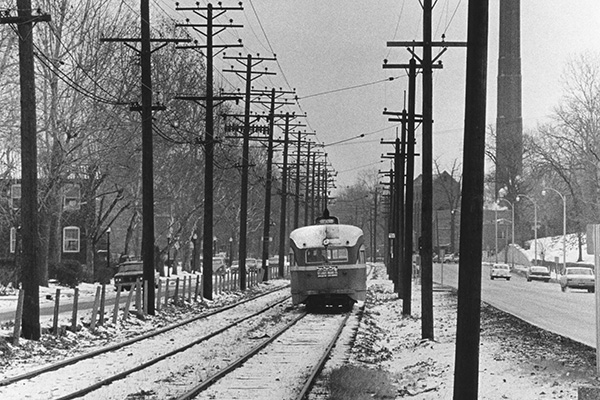 streetcar travels along the tracks