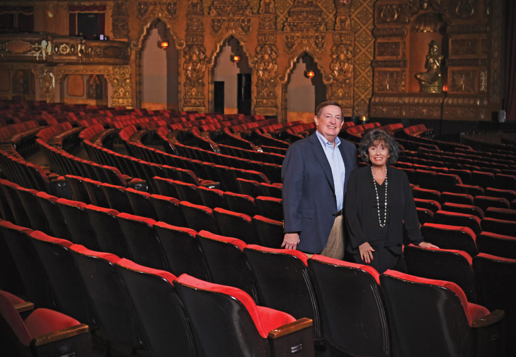 "Terry Schnuck (left) parlayed a legal career in his family grocery business into producing Broadway shows. Mary Strauss' ties to theater include transforming the Fox Theatre in St. Louis and producing Broadway shows as well. The two co-produced ""Fun Home,"" which won five Tony Awards in 2015. (Photo: James Byard)"