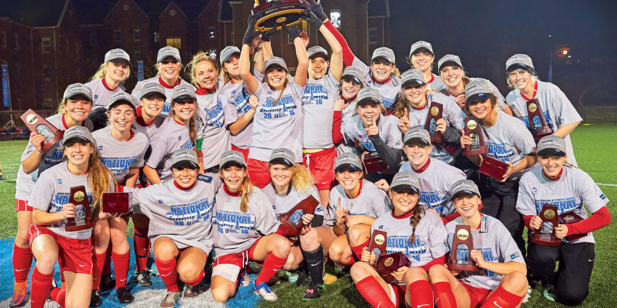 The Washington University women's soccer team won its first national championship in December 2016. The title is the 20th Washington University teams have earned in Division III athletics. (Photo: Roger Mastroianni)