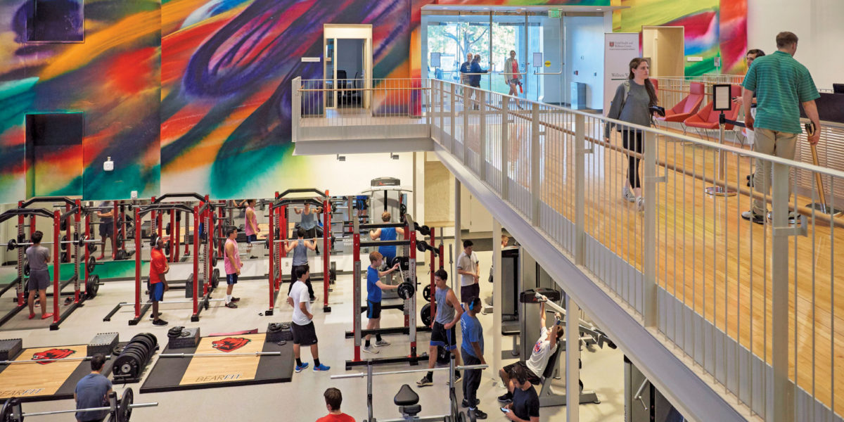 "The $55 million Gary M. ­Sumers Recreation ­Center ­debuted Oct. 29, 2016. ­­The facility features a new three-court gym, 72 cardio machines, multiple exercise studios, a ""Zen Den"" and more. (Dan Donovan/Washington University)"